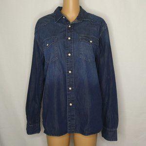 Lucky Brand Modern Western Denim Chambray Shirt Md